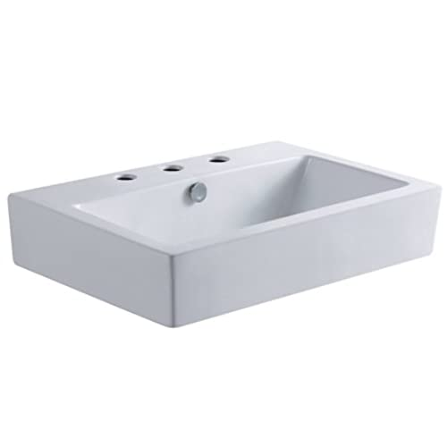 Nice Kingston Brass EV4318W38 Century Wash Basin With 3 Faucet Hole, 8 Inch,  White