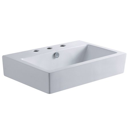 Kingston Brass EV4318W38 Century Wash Basin with 3 Faucet Hole, 8-Inch, White