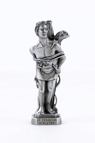 Pewter Catholic Patron of Athletes Saint St Sebastian Statue with Laminated Prayer Card, 3 1/2 Inch -
