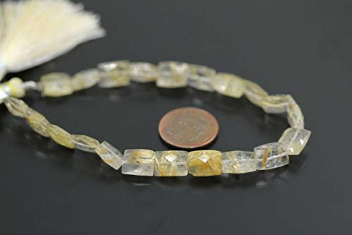 Beads Bazar Natural Beautiful jewellery Natural Gold Rutile Quartz Faceted Rectangle Chiclet Gemstone Loose Craft Beads Strand 4