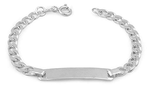 Boy Jewelry - 6 1/2 In Sterling Silver Curb Link Children ID Bracelet With Engraving