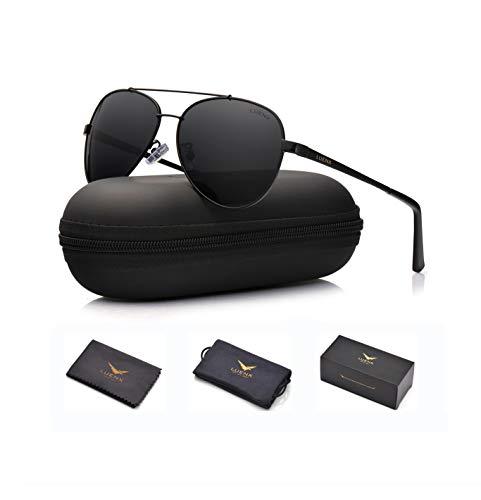 LUENX Men Women Aviator Sunglasses Polarized Non-Mirror Black Lens Black Metal Frame with Accessories UV 400 Protection 60MM ()