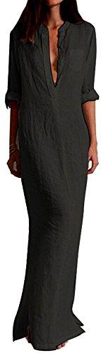 Silk Linen Dress (KaKing Women's Casual Linen Cotton V Neck Maxi Shirt)