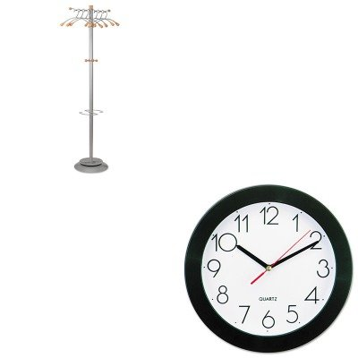 KITABAPMWAVEUNV10421 - Value Kit - Alba Wavy Coat Rack (ABAPMWAVE) and Universal Round Wall Clock ()