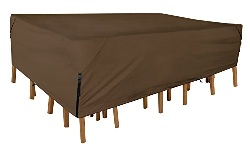 Leader Accessories 600D PVC Heavy Duty 100% Waterproof Rectangular/Oval Patio Table & Chair Set Cover Size L 140″(L) x82(W) x30(H)