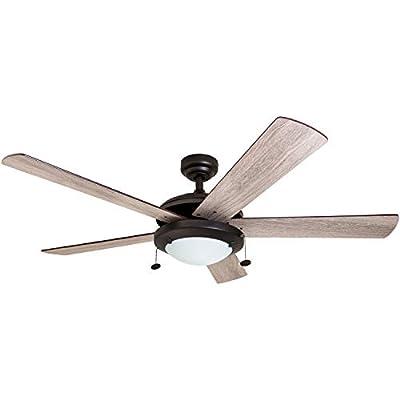 Prominence Home Bolivar Ceiling Fan, LED Indoor, Barnwood/Black Matte 52 inches