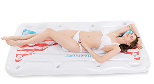 Jasonwell Beer Pong Pool Float - Inflatable Floating Beer Pong Table Party Pool Lounge Raft for Adults with Cooler White 6 Feet