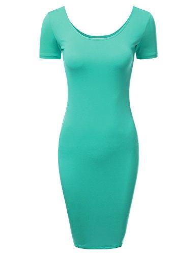 DRESSIS Women's Short Sleeve Scoop Neck and Back Bodycon Mini Dress JADE S