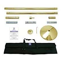X Pole XPert 45mm Brass - Static And Spinning - Professional Pole Dancing Kit by X-Pole
