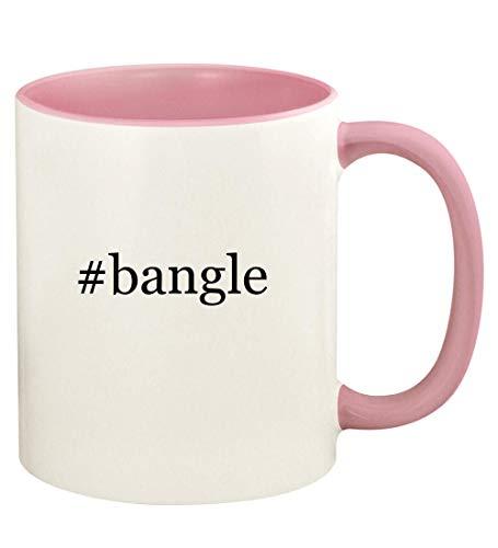 #bangle - 11oz Hashtag Ceramic Colored Handle and Inside Coffee Mug Cup, Pink