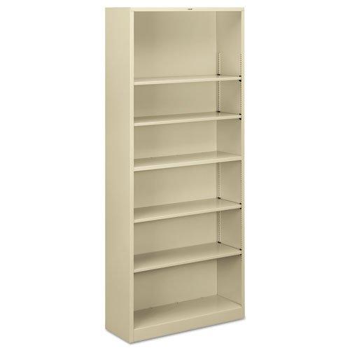 HON S82ABCL Metal Bookcase, Six-Shelf, 34-1/2w x 12-5/8d x 81-1/8h, Putty