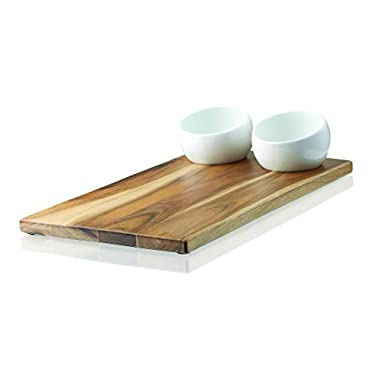 Umbra Plato Bread Board and Dipping Bowl Set, White/Nickel