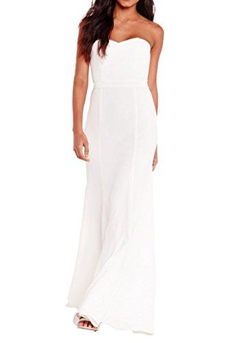 Simple Zipper Dress H Strapless Party Evening Dress Back Avril Chiffon Dress White Line UwXp5qXx1