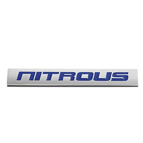 - UrMarketOutlet NITROUS Blue/Chrome Aluminum Alloy Auto Trunk Door Fender Bumper Badge Decal Emblem Adhesive Tape Sticker