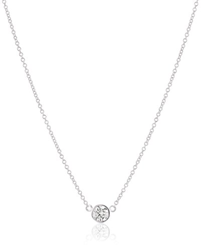 De Diamond Bezel (14k White Gold Bezel Set Solitaire Adjustable Pendant Necklace (1/4cttw, K-L Color, I2-I3 Clarity), 16