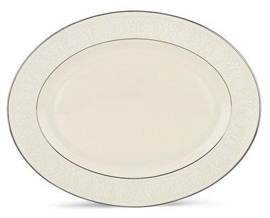 Lenox Courtyard Platinum Ivory China 16 Oval Platter