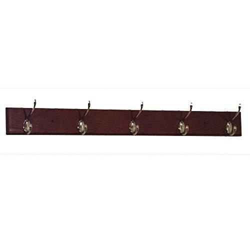 DMD Coat Rack, 5 Hook with Nickel Hardware, Mahogany Wood Finish