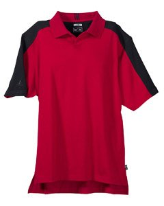 Adidas Men's Short Sleeve ClimaLite Colorblock Polo - University Red/Black A43 XL