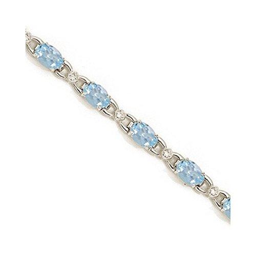Diamond and Aquamarine Bracelet 14k White Gold (10.26 ()