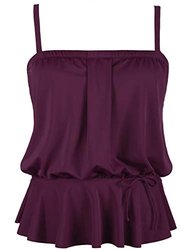 Ruffle Tank Suit - Hilor Women's Bandeau Swim Top Blouson Tankini Swimwear Ruffle Hem Bathing Suit Top Burgundy 14