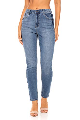 - Earl Jean Women's Mid Rise Stretch Skinny Jeans (8, Light Wash)
