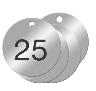1-1/2 inch Numbered Aluminum Circle Valve Tags (Numbered 01-25)
