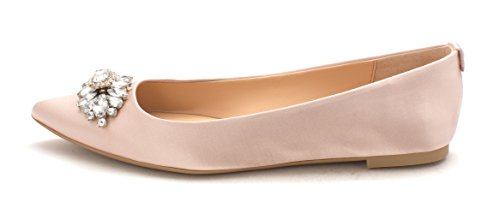 Badgley Mischka Womens Havana Fabric Pointed Toe, Champagne Satin, Size 6.5
