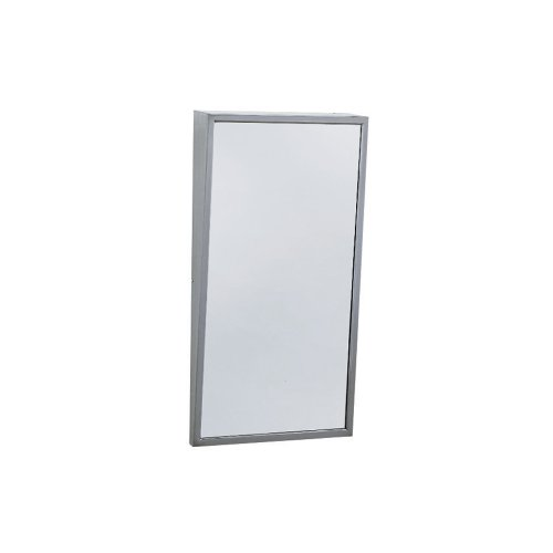 Bobrick 293 304 Stainless Steel Frame Fixed-Position Tile Mirror, Satin Finish, 18