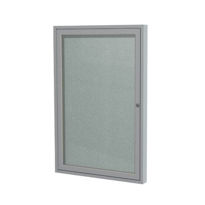 1 Door Outdoor Enclosed Bulletin Board Size: 2' H x 1'6'' W, Frame Finish: Satin, Surface Color: Silver
