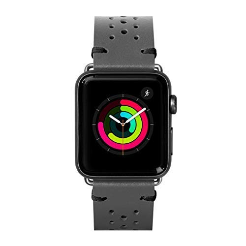 - LAUT | Heritage Watch Strap for Apple Watch Series 1/2/3/4 | Durable Treated Genuine Leather | Stainless Steel Clasp & Connectors | Breathable (42mm / 44mm • Slate Grey)