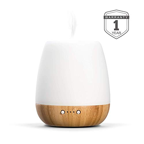 Mona Essential Oil Diffuser 180ML handmade Glass&Bamboo Aromatherapy Humidifier with adjustable mist mode&night light, waterless auto shut-off and timing set, silent fan. ZEIGGA LAB