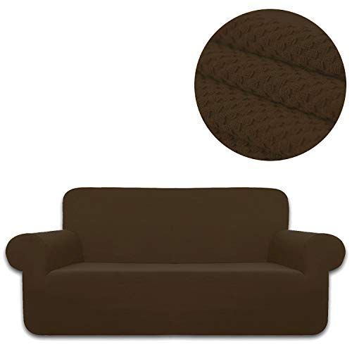 ANJUREN Sofa Loveseat Couch Chair Slipcover Cover 1 Piece 4 Seater T Cushion Large Sofa Couch Slip Cover Shield Protector Stretch Knit Spandex Living Room Furniture Covers (XL Sofa, Coffee)