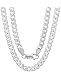 Men's 4mm Solid Sterling Silver .925 Curb Link Chain Necklace, Made in Italy (30 Inches)