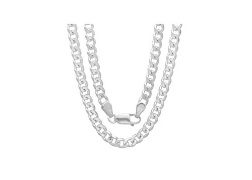 Men's 4mm Solid Sterling Silver .925 Curb Link Chain Necklace, Made in Italy  (20 Inches)