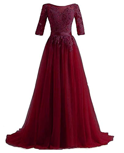 Huifany Sexy Scoop Neck Applique Beaded Tulle Long Formal Prom Gowns Dark Red,Size 6