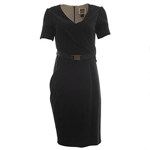 (NUE by Shani Women's Knit Sleeve Belted Sheath Dress Sz 12 Black )
