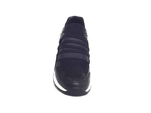 Crime uomo, 11740, sneakers pelle e camoscio nero A7102
