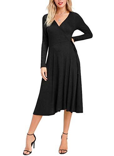 R.Vivimos Women Spring Autumn Long Sleeve Sweater Knitted Slim Elastic V Neck Sexy Midi Wrap Dresses (XL, Black)
