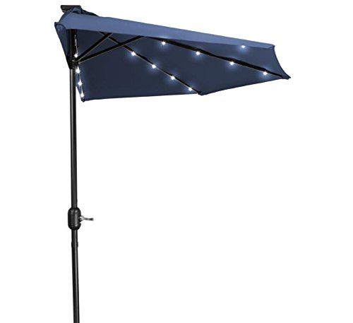 Blue Led Umbrella: 9' Patio LED Half Umbrella Solar Powered Blue Black Steel