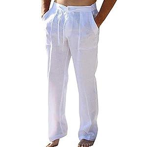 PASLTER Mens Casual Loose Fit Straight-Legs Cotton Linen Long Pants Elastic Waist Loose Fit Beach Pants