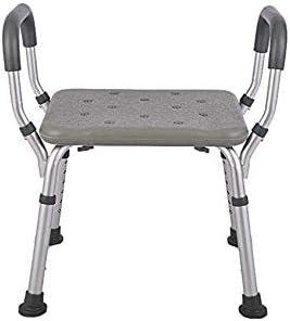Silla de baño, aleación de aluminio de altura ajustable, silla de ducha con reposabrazos, antideslizante baño taburete de ducha para silla de baño adaptado,Grey
