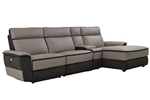 (Liberman 3PC Power Sectional w Power Armless Recliner - Top Grain Leather & Fabric - Grey - ConfigC )