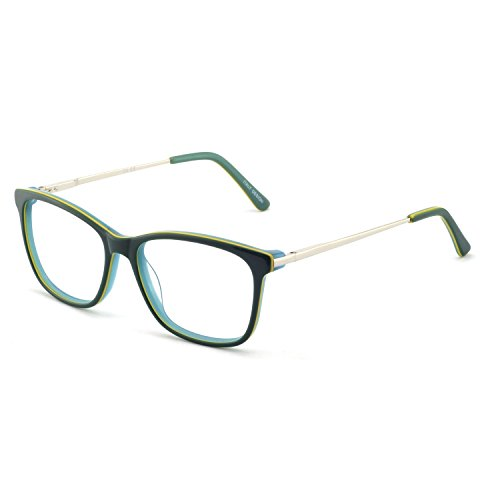 OCCI CHIARI Women Eyeglasses Frame Rectangular Acetate Colorful with Anti-blue Light Lens(Green,54)