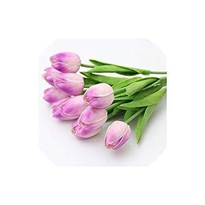 Artificial Tulips 21Pcs/Lot Pu Mini Tulip Flower Bouquet Artificial Silk Flowers for Home Party Decoration,Light Purple 62