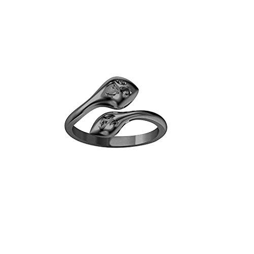 (Silvernshine Jewels Women's 14K Black Gold Fn .925 Sterling Silver Snake Adjustable Toe Ring)