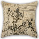 Throw Cushion Covers 20 X 20 Inches / 50 By 50 Cm(double Sides) Nice Choice For Coffee House,couch,home Theater,husband,gf,son Oil Painting Jerome Myers - Street - Queen Myer Street