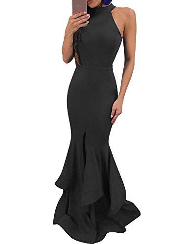 GOBLES Womens Elegant Ruffles Sleeveless Split Evening Mermaid Maxi Dress Black
