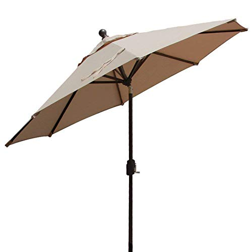 EliteShade Sunbrella 9Ft Market Umbrella Patio Outdoor Table Umbrella with Ventilation,Bonus Weatherproof Cover (Sunbrella Heather Beige)