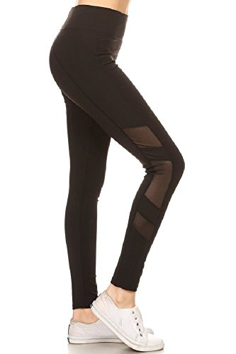 - Jvini Women's Active Mesh Panel Insert Workout Yoga Leggings & Capris Pants (Small, Black-66)