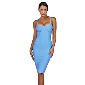 whoinshop Women's Rayon Strappy Bodycon Bandage Evening Dress